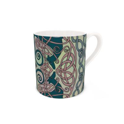 Art Nouveau Greyhounds (Pale Green) Bone China Mug