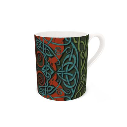 Celtic Greyhounds Bone China Mug (Red/Green)