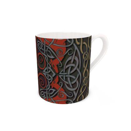 Celtic Greyhounds Bone China Mug (Red/Taupe)