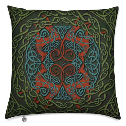 Celtic Greyhounds Cushion (Red/Green)