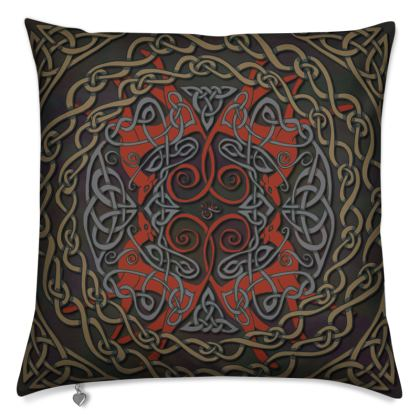 Celtic Greyhounds Cushion (Red/Taupe)