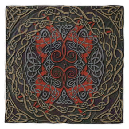 Celtic Greyhounds Throw Blanket (Red/Taupe)