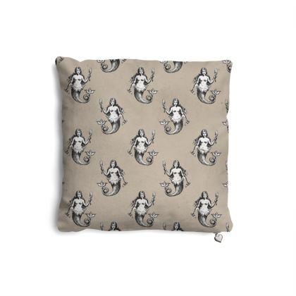 Mermaids Heraldic Ivory Pillows Set of 2.