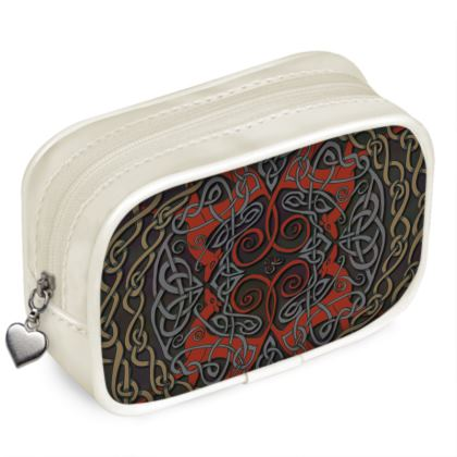 Celtic Greyhounds Pouch Purse (Red/Taupe)