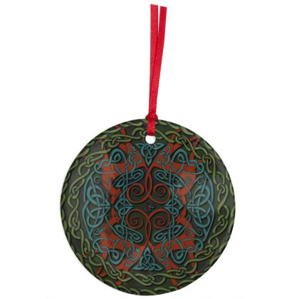 Celtic Greyhounds Hanging Ornament (Red/Green)