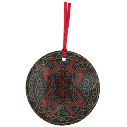 Celtic Greyhounds Hanging Ornament (Red/Taupe)