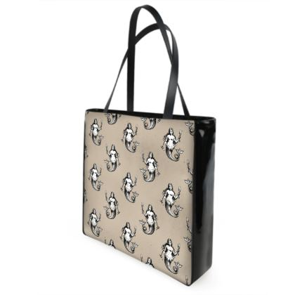 Mermaids Heraldic Ivory Shopper's Bag.