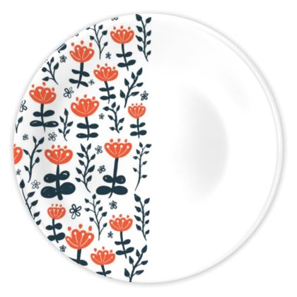 Red Blooms China Plates