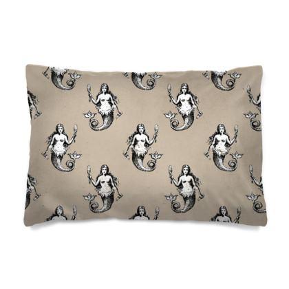 Mermaids Heraldic Ivory pillow cases.