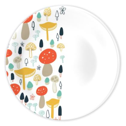 Forest Mushrooms China Plates