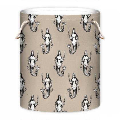 Mermaids Heraldic Ivory Laundry Bag.