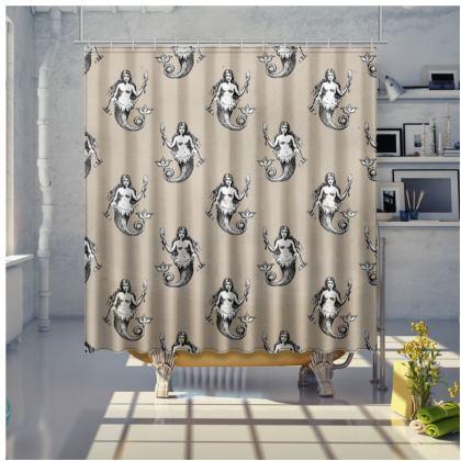 Mermaids Heraldic Ivory Large Shower Curtain.