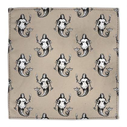 Mermaids Heraldic Ivory Cotton Napkins Set of 10.