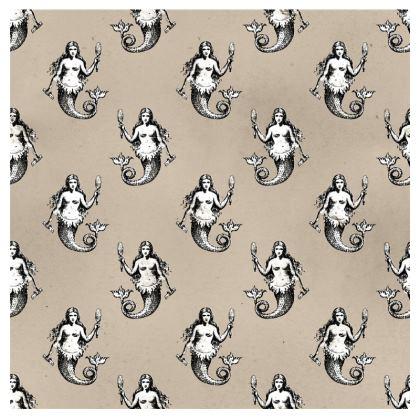 Mermaids Heraldic Ivory Bolster Cushion.