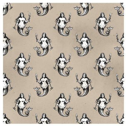 Mermaids Heraldic Ivory Neck Pillow.
