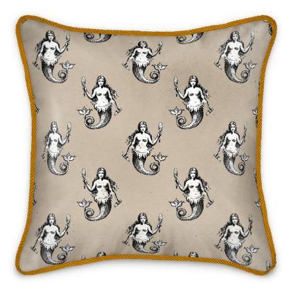 Mermaids Heraldic Ivory Silk Cushion.