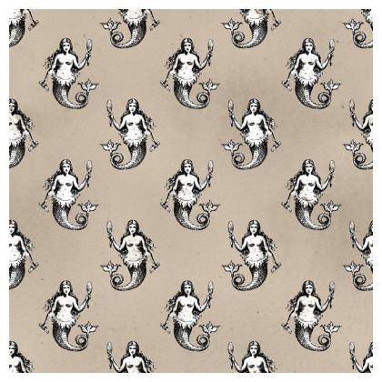 Mermaids Heraldic Ivory 50x50 cm Luxury Cushion.