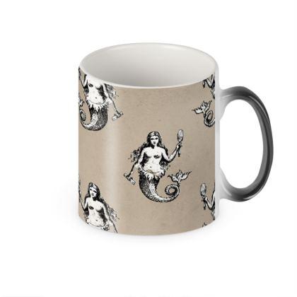 Mermaids Heraldic Ivory Heat Changing Mug