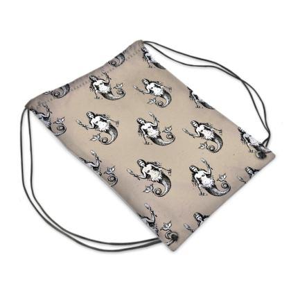 Mermaids Heraldic Ivory Swim Bag