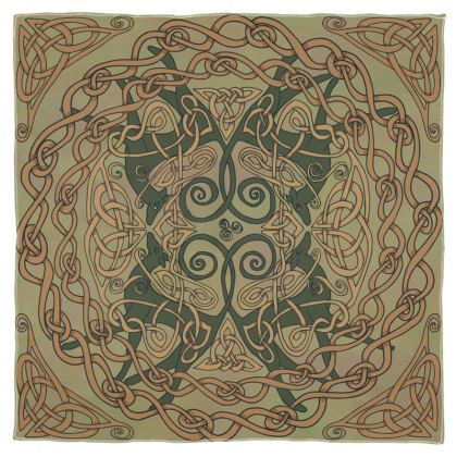 Celtic Greyhounds Scarf (Natural Green)