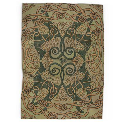 Celtic Greyhounds Tea Towel (Natural Green)