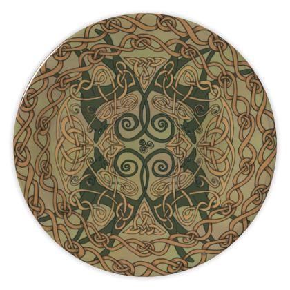 Celtic Greyhounds China Plate (Natural Greens)