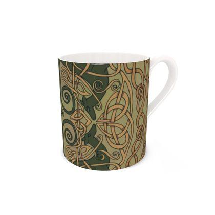 Celtic Greyhounds Bone China Mug (Natural Greens)