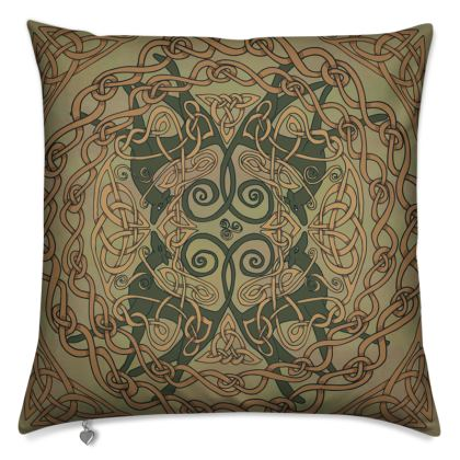 Celtic Greyhounds Cushion (Natural Greens)