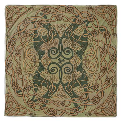 Celtic Greyhounds Throw Blanket (Natural Greens)