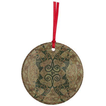 Celtic Greyhounds Hanging Ornament (Natural Greens)