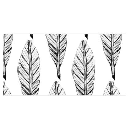 Black and White Feather Fabric Printing