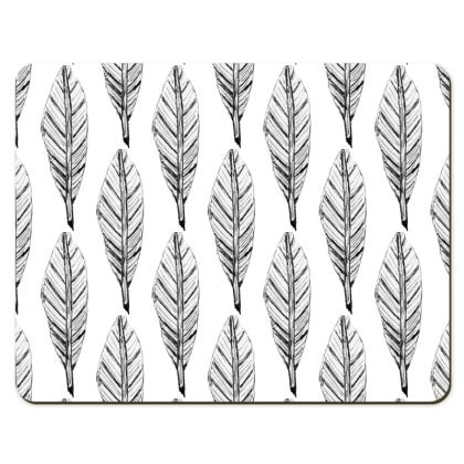 Black and White Feather Placemats