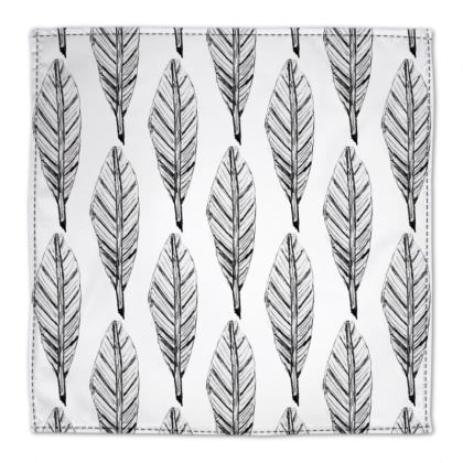 Black and White Feather Napkins