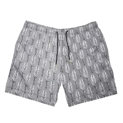 Black and White Feather Mens Swimming Shorts
