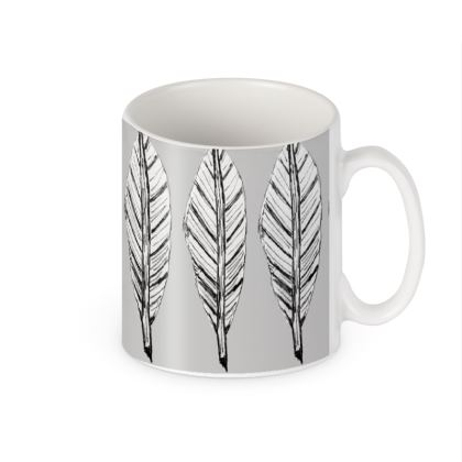 Black and White Feather Builders Mug