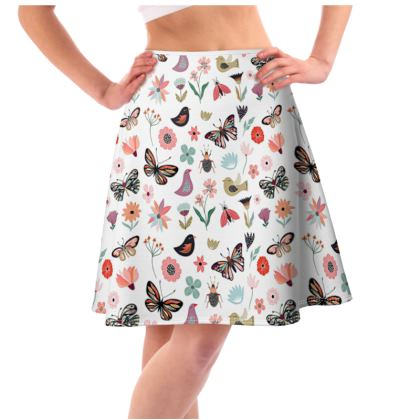 OSHO Original Skater Skirt with Butterflies and flowers