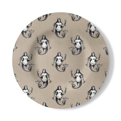 Mermaids Heraldic Ivory Decorative Plate