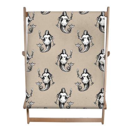 Mermaids Heraldic Ivory Deckchair Sling