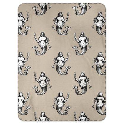 Mermaids Heraldic Ivory Single Layer Blanket