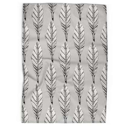 Black and White Feather Tea Towels