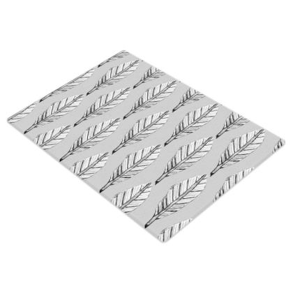 Black and White Feather Glass Chopping Board