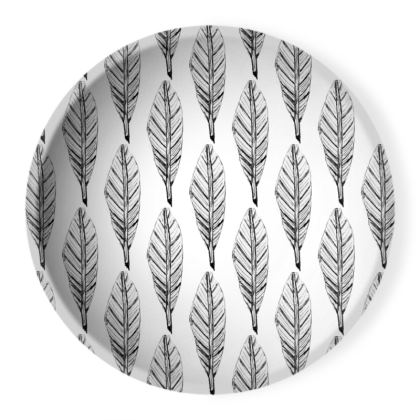 Black and White Feather Ornamental Bowl
