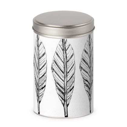 Black and White Feather Cylinder Tin
