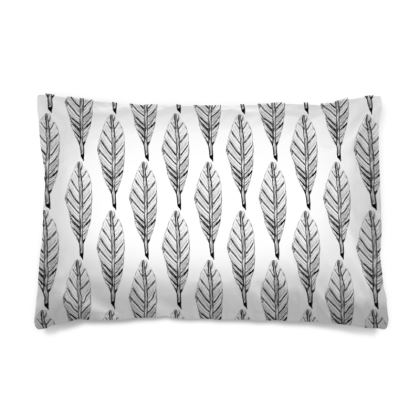Black and White Feather Pillow Case