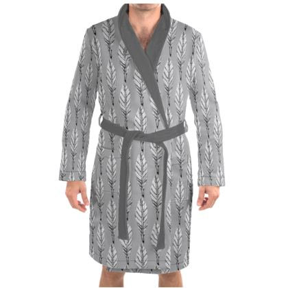 Black and White Feather Dressing Gown