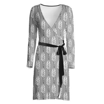 Black and White Feather Wrap Dress