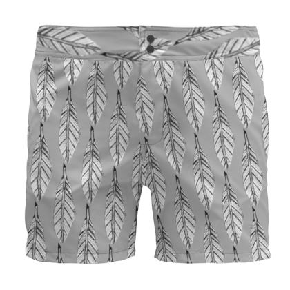 Black and White Feather Board Shorts
