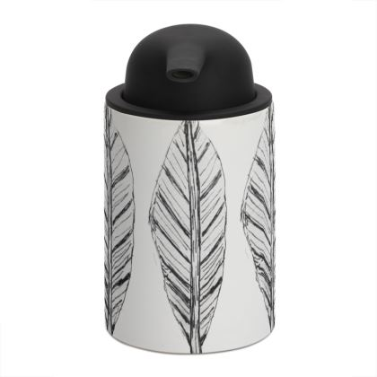 Black and White Feather Soap Dispenser