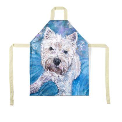 Millie the West Highland Terrier Luxury Fine Art Apron by Somerset (UK) Artist Amanda Boorman