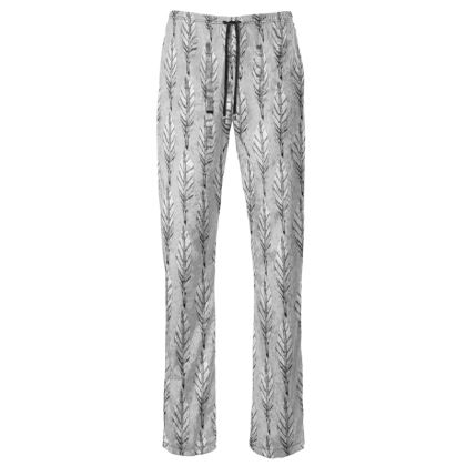 Black and White Feather Women's Trousers